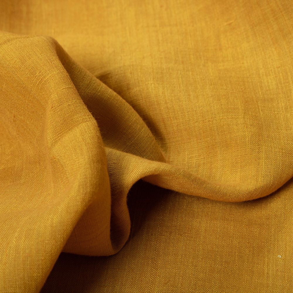 Tecido Linho Puro Listra Amarelo Dourado