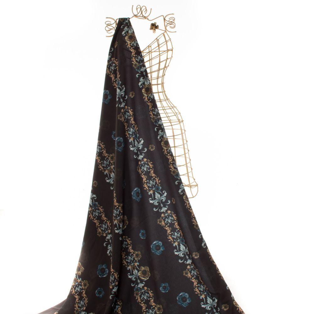 Tecido Alfaiataria Dior Estampa Arabesco Preto