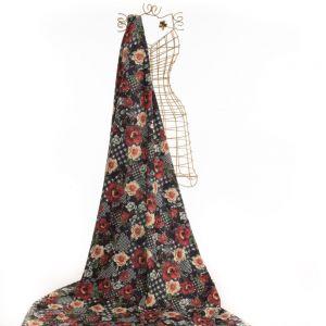 Tecido Alfaiataria Dior Estampa Floral Misto Preto