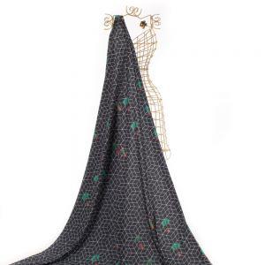 Tecido Alfaiataria Dior Estampa Geométrica Doncella Preta