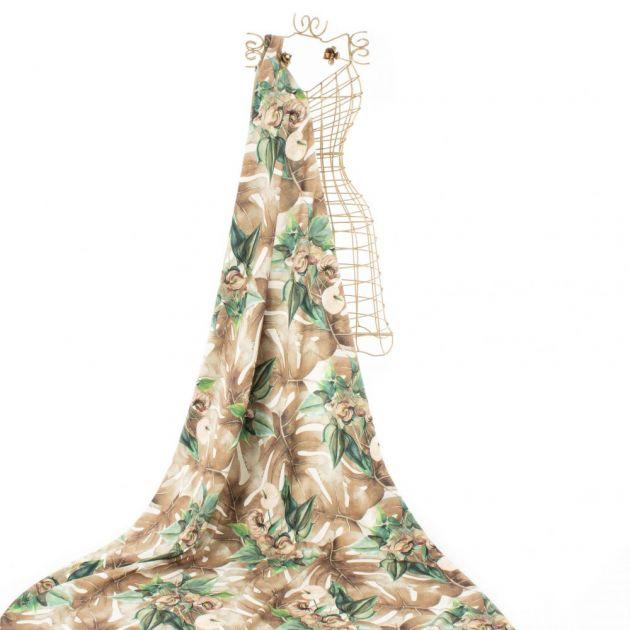 Tecido Alfaiataria Dior Estampa Tropical Bege