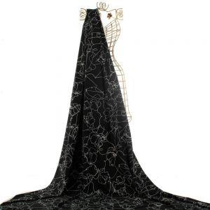 Tecido Alfaiataria Dior Leve Estampa Abstrata Preta