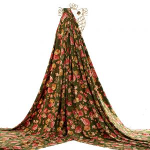 Tecido Alfaiataria Dior Leve Estampa Floral Verde Bandeira