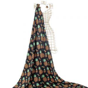 Tecido Alfaiataria Dior Preta Estampa Doncella Abacaxi