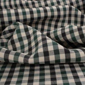Tecido Alfaiataria Span Xadrez Verde e Off White