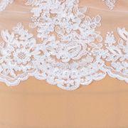 Tecido Bico de Renda Duplo Sutache Branco - 21 cm