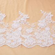Tecido Bico de Renda Sutache Branco 30cm