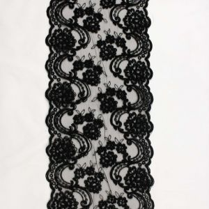 Tecido Bico de Renda Sutache Preto 21cm