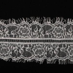 Tecido Bico Duplo de Renda Chantilly Off White - 5 cm