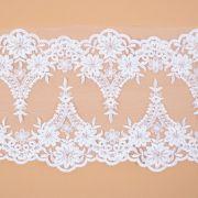 Tecido Bico Duplo de Renda Sutache com Paetês Branco - 14 cm