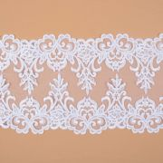 Tecido Bico Duplo de Renda Sutache com Paetês Branco - 16 cm