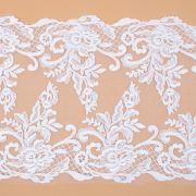 Tecido Bico Duplo de Renda Sutache com Paetês Floral Branco - 20 cm