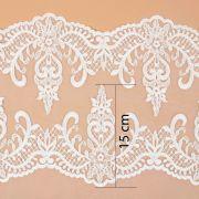 Tecido Bico Duplo de Renda Sutache Off White - 15 cm