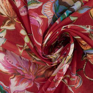 Tecido Cambraia de Algodão Italiana Estampa Floral Vermelho