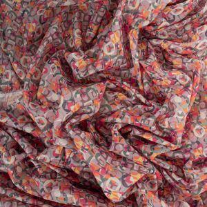 Tecido Cambraia de Algodão Italiana Estampa Mini Geométrico Rosa