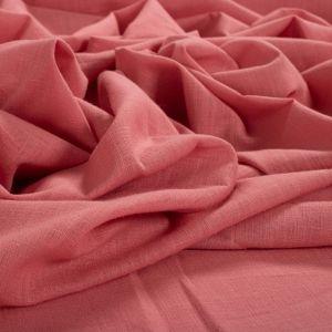 Tecido Cambraia de Algodão Trama de Linho Rosa Blush Nude