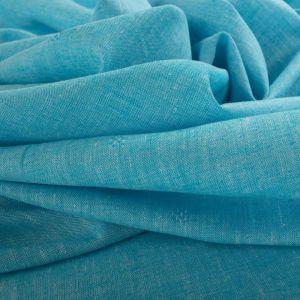 Tecido Cambraia de Linho Misto Maquinetada Azul Aquário