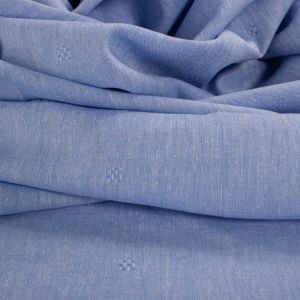 Tecido Cambraia de Linho Misto Maquinetada Azul Serenity