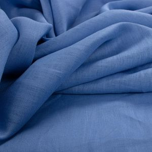 Tecido Cambraia de Linho Puro Azul Celeste Escuro