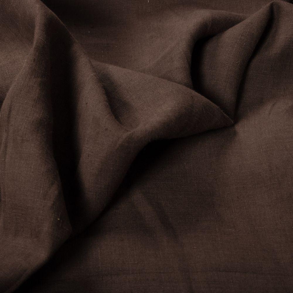 Tecido Cambraia de Linho Puro Marrom Chocolate