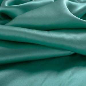 Tecido Cetim de Seda Pura Verde Turquesa