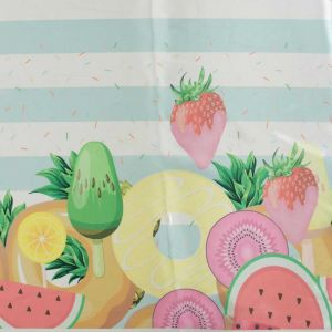 Tecido Cetim Estampa Barrada Salada de Frutas