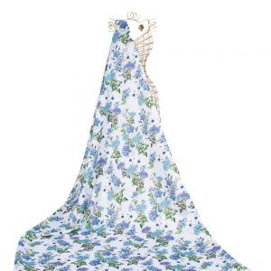Tecido Cetim Italiano Estampa Floral Branco