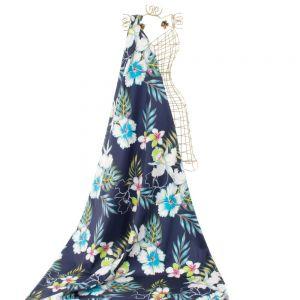 Tecido Cetim Italiano Estampa Maxi Floral Azul Marinho