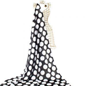 Tecido Cetim Toque de Seda Preto Estampa Doncella Maxi Poá Branco