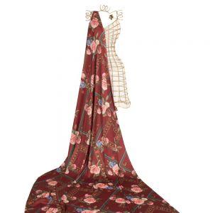 Tecido Cetim Toque de Seda Span Estampa Floral Vermelho