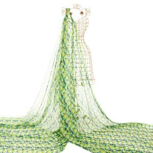 Tecido Chiffon de Seda Pura Estampa Floral Verde