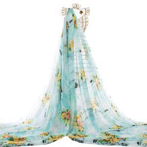 Tecido Chiffon Estampa Floral Azul