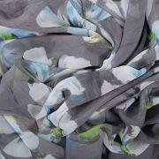 Tecido Chiffon Estampa Floral Cinza
