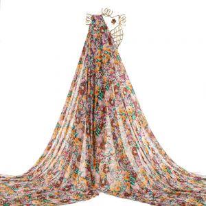 Tecido Chiffon Estampa Floral Colorido