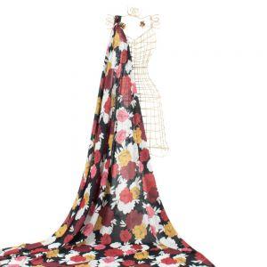 Tecido Chiffon Estampa Floral Preto