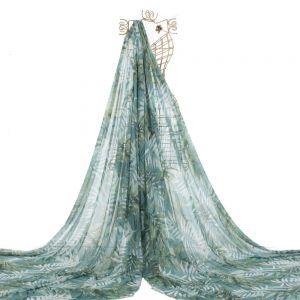 Tecido Chiffon Premium Estampa Tropical Azul Tiffany Queimado
