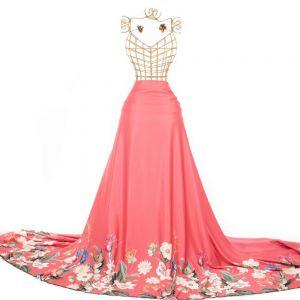 Tecido Crepe Amanda Premium Estampa Barrada Maxi Floral Coral Rosa