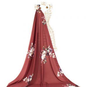 Tecido Crepe Amanda Premium Estampa Maxi Floral Marsala