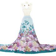 Tecido Crepe Estampa Floral Barrado Tiffany