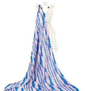 Tecido Crepe Estampa Tie Dye Azul e Rosa
