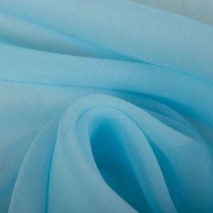 Tecido Crepe Georgete de Seda Pura Azul Bebê