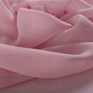 Tecido Crepe Georgete de Seda Pura Rosa Quartzo