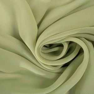 Tecido Crepe Georgete de Seda Pura Verde Oliva Claro