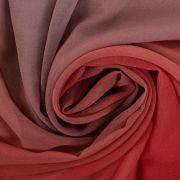 Tecido Crepe Georgete Doncela Estampa Tie Dye Azul e Coral
