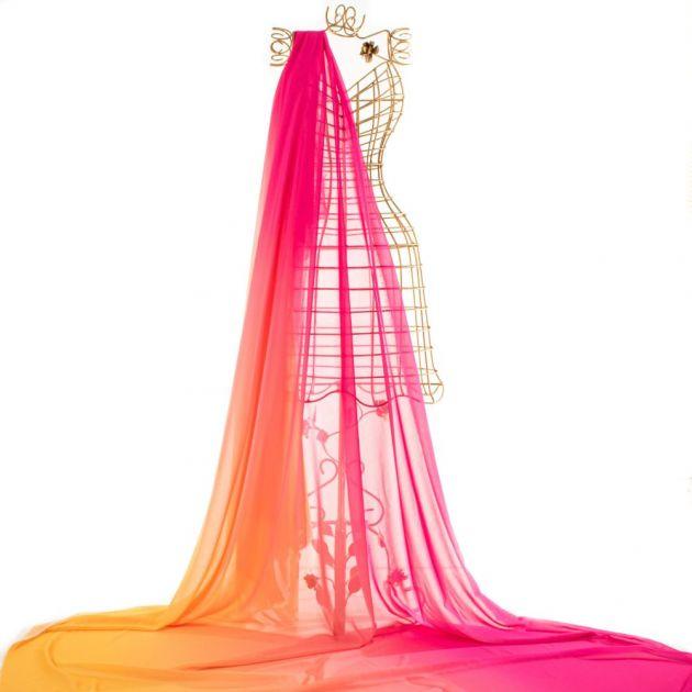 Tecido Crepe Georgete Doncella Estampa Tie Dye Amarelo e Pink