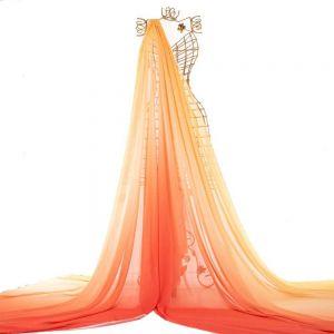 Tecido Crepe Georgete Doncella Tie Dye Amarelo e Coral