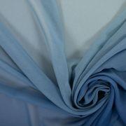 Tecido Crepe Georgete Doncella Tie Dye Laranja Queimado e Azul Denim