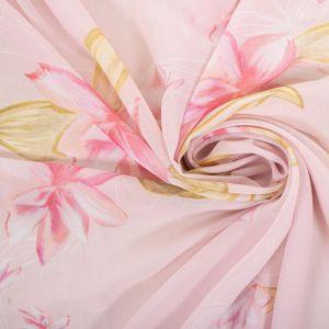 Tecido Crepe Georgete Estampa Doncella Floral Cor Baunilha