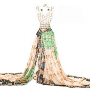 Tecido Crepe Georgete Estampa Doncella Lenço Leopardo 1,50m