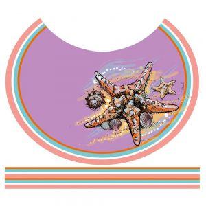 Tecido Crepe Georgete Estampa Doncella Pareô Circular Estrela do Mar Cor Violeta Claro